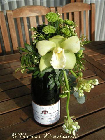 Benodigdheden fles mini oasis deco ijzerdraadje pistache for Decoratie fles