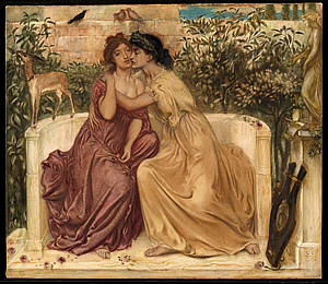 76538160339 Sara Teasdale (8 augustus 1884 – 29 januari 1933) 'Sappho and Erinna in a  Garden at Mytilene' door Simeon Solomon, 1864
