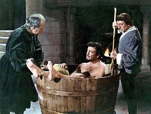ce8869e7dd7 Sir Walter Scott (14 augustus 1771 - 21 september 1832) Scene uit de  gelijknamige film uit 1955 met o.a. Robert Taylor als Quentin (hier in de  badkuip)
